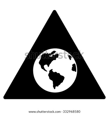 Earth Warning vector icon. Style is flat symbol, black color, rounded angles, white background.