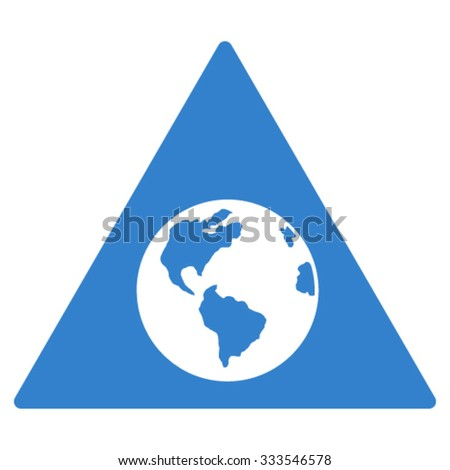 Earth Warning vector icon. Style is flat symbol, cobalt color, rounded angles, white background. - stock vector