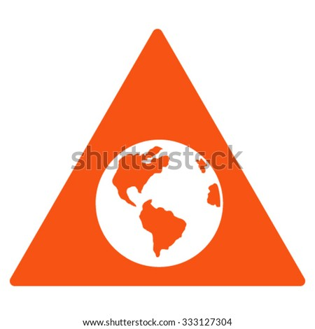 Earth Warning vector icon. Style is flat symbol, orange color, rounded angles, white background.