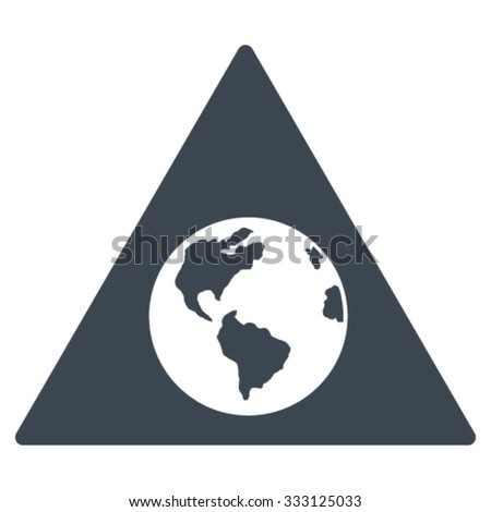 Earth Warning vector icon. Style is flat symbol, smooth blue color, rounded angles, white background.