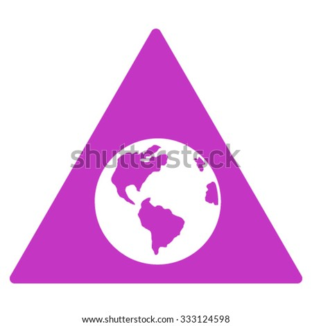 Earth Warning vector icon. Style is flat symbol, violet color, rounded angles, white background.
