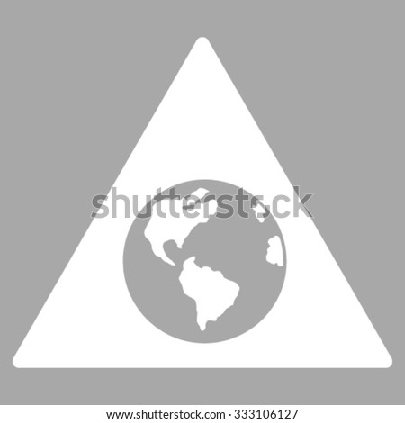 Earth Warning vector icon. Style is flat symbol, white color, rounded angles, silver background.