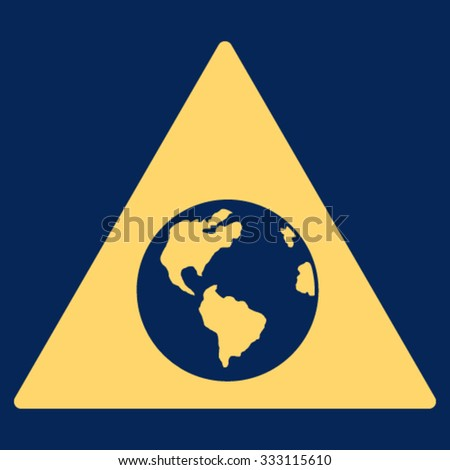 Earth Warning vector icon. Style is flat symbol, yellow color, rounded angles, blue background.