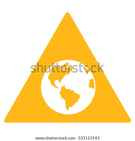 Earth Warning vector icon. Style is flat symbol, yellow color, rounded angles, white background.