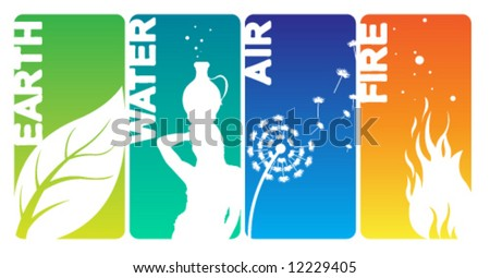 Earth Water Air Fire Cards - stock vector