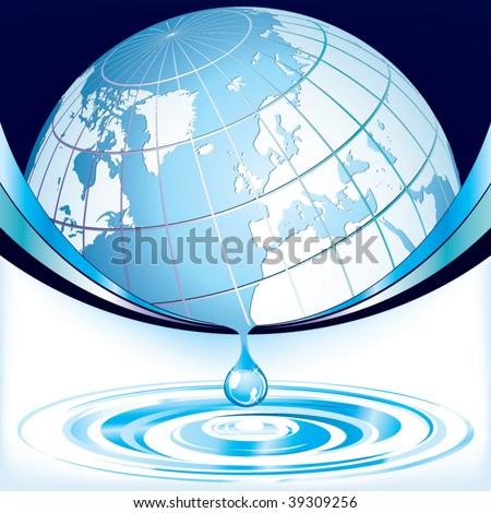 Earth - water drop design template - stock vector