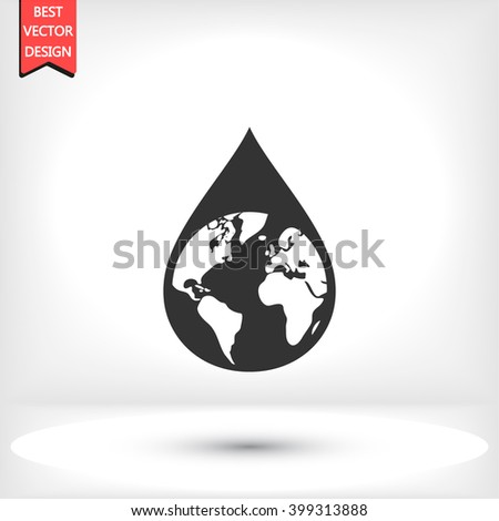 Earth water drop   icon, Earth water drop   pictograph, Earth water drop   web icon, Earth water drop   icon vector, Earth water drop   icon eps, Earth water drop   icon illustration - stock vector