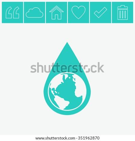 Earth water drop vector icon. - stock vector