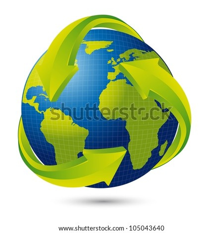 earth with arrows with shadow over white background. vector illustration - stock vector
