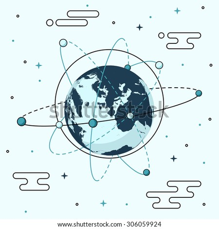 Earth with Circles in Orbit - stock vector