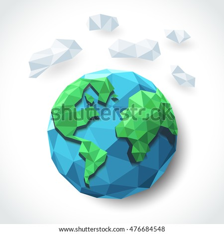 earth with cloud graphic art in low polygon vector , geometric illustration