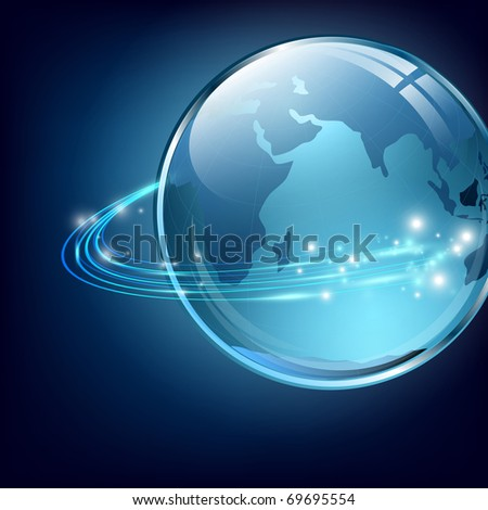 earth with digital fibers over blue - stock vector