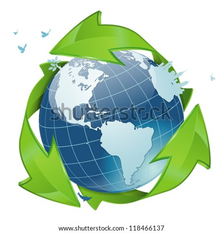 Earth with Environmental Arrows, City Skyline, Tree and Birds, isolated on white icon, vector illustration