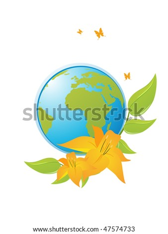 earth with floral elements