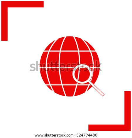 Earth with magnifying glass search icon, vector illustration. - stock vector