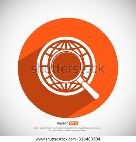 Earth with magnifying glass search icon, vector illustration. Flat design style - stock vector