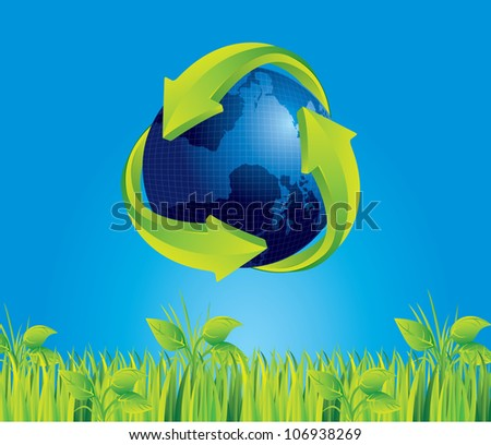 Earth with recycle sign on blue sky background, vector illustration