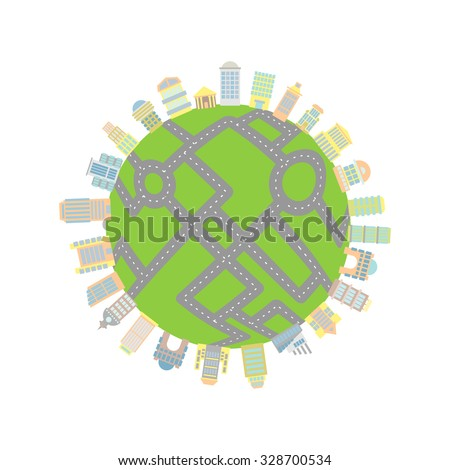 Earth with roads and buildings. Skyscrapers and architectural structures filled planet. Roads cover entire land. Global Total urbanization planet - stock vector