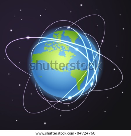Earth with trajectories of satellites in deep space - stock vector