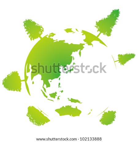 Earth with trees. Miniature planet with sparse leafy tree vegetation. - stock vector