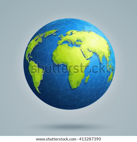 Earth, world map. Polygonal 3D globe with global connections. - stock vector