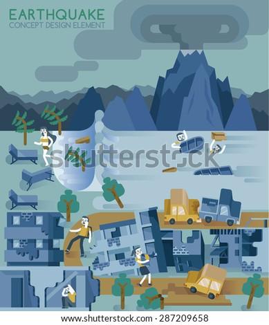 Earthquake concept design element vector - stock vector
