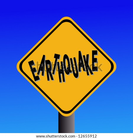 earthquake hazard sign on blue sky illustration - stock vector