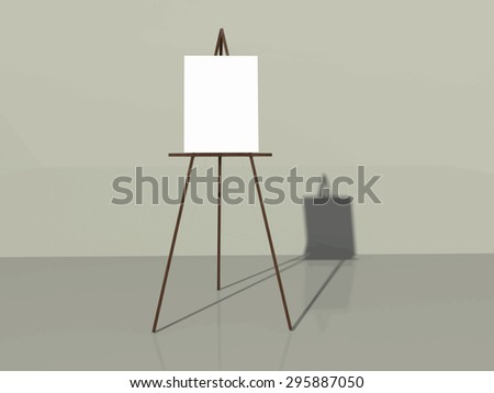 Easel for your design in a room. Wooden easel with blank canvas background vector.