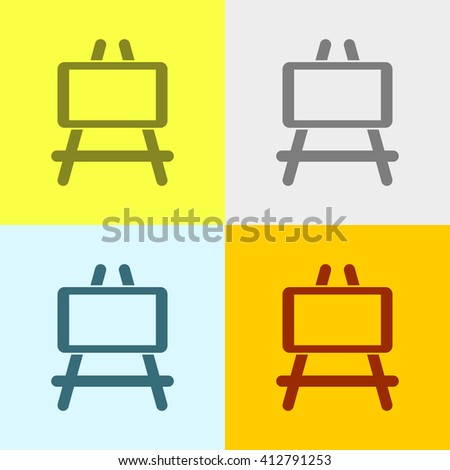 Easel Icon on Four Different Backgrounds. Eps-10.