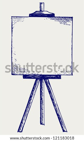 Easel with empty canvas. Doodle style - stock vector