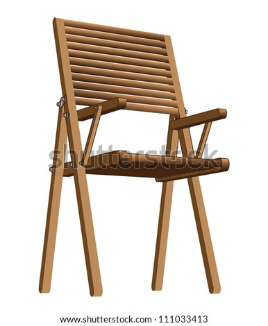 easily displaced wooden folding chair for picnic or fishingvector illustration