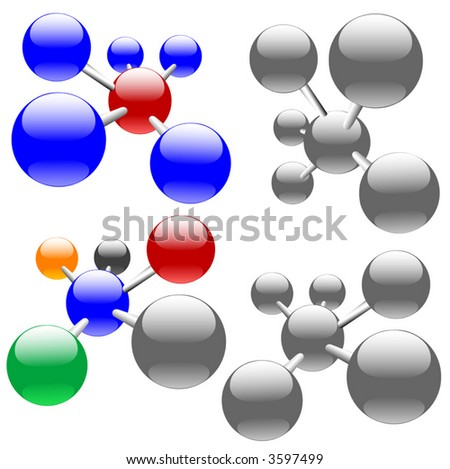 Easily edited , clean, isolated abstract molecules, or sets of networks & nodes. - stock vector
