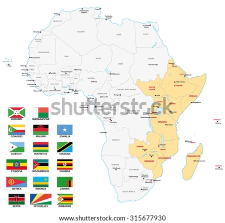 east africa map with flags - stock vector