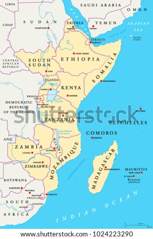 East Africa Political Map Political Map Stock Vector - Important rivers in africa