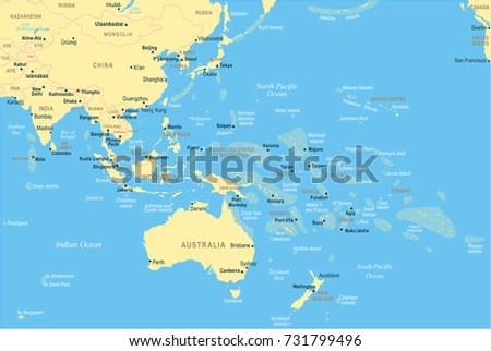 east asia and oceania map detailed vector illustration