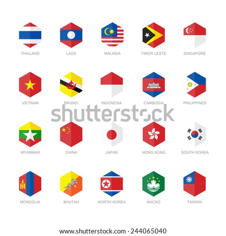 East Asia and South East Asia Flag Icons. Hexagon Flat Design. - stock vector