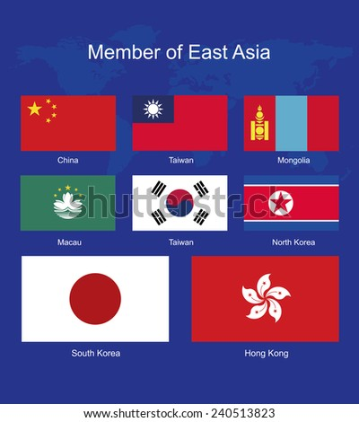 East Asia flags, flags vector, flags icons