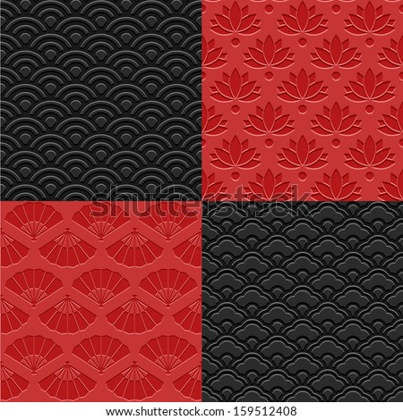 East Asia Seamless Patterns - SET 1 - stock vector