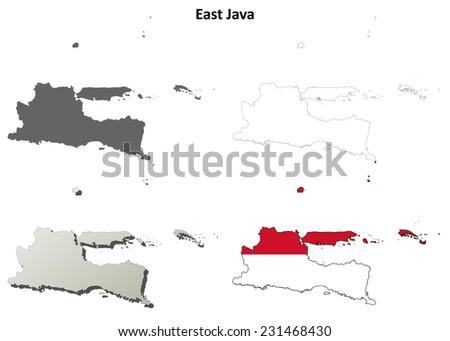 East Java blank outline map set - stock vector