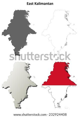 East Kalimantan blank outline map set - stock vector
