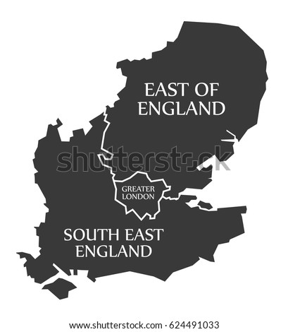 east of england greater london south east england map uk illustration