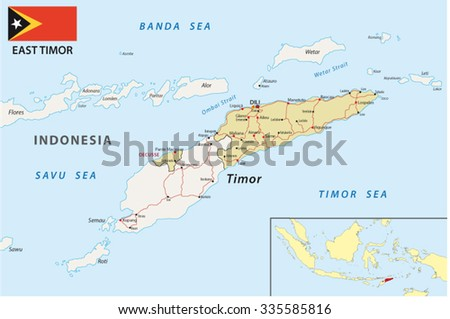 East Timor Road Map Flag Stock Vector Shutterstock - East timor seetimor leste map vector