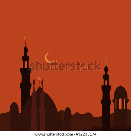 East Town and mosque in sunset. Ramadan. Vector image