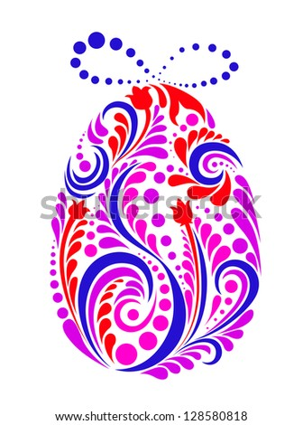 Easter abstract egg in floral style for religious holiday design. Jpeg version also available in gallery - stock vector