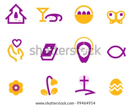 Easter and christianity icon set isolated on white ( purple ) - stock vector