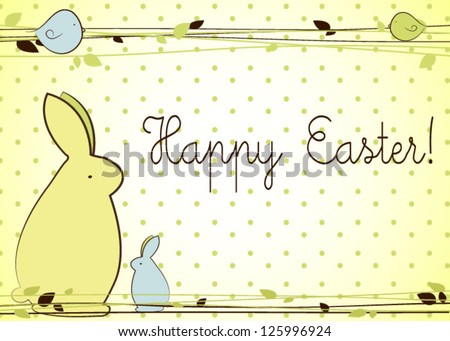 Easter background Easter card with bunnies - stock vector