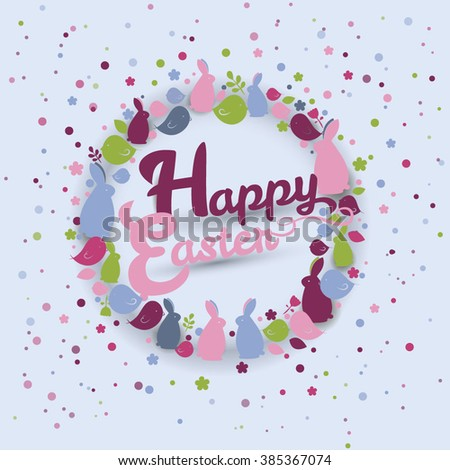 Easter background Easter card with bunnies and birds Easter wreath - stock vector