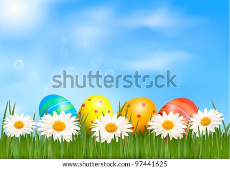 Easter background. Easter eggs laying in green grass with daisy under blue sky. Vector. - stock vector