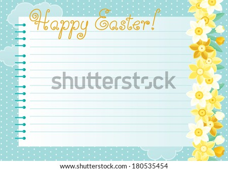 """Easter background. Many spring flowers, page and text """"Happy Easter!"""" of   spiral exercise book on abstract background  - stock vector"""