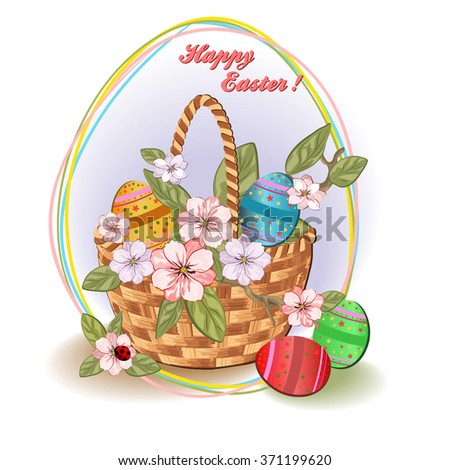 Easter background with a basket and eggs. Vector illustration.
